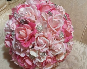 Rhinestone and real touch wedding bouquet in pink, bridal bouquet, rhinestone bouquet