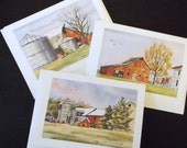 "3 Blank Note Cards, 5"" x 7"" Cards, Lithographs, Watercolor, Ink, Card Stock, 3 Different Designs, Illustrations, Greeting Cards, Farm Scenes"