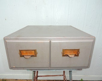 Vintage Index Card File Gray Wood Library Cabinet Drawers Grey Old School