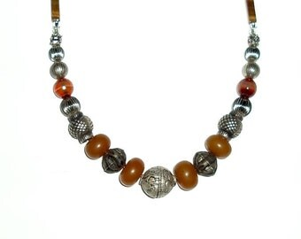 "TIBETAN REPOUSSEE silver,Tigers eye 18 1/4"" NECKLACE, metal, resin, amber, brown, dark mustard, ochre"