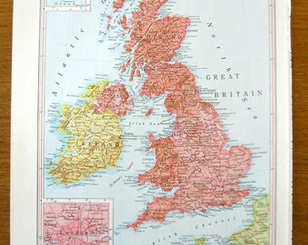 Vintage atlas plate with map of British Isles. Insets of London and Shetland Islands.  Printed in 1950s use for wall decor.