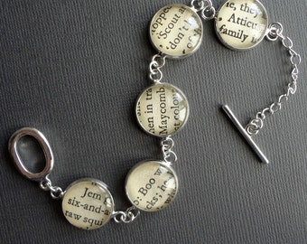 To Kill A Mockingbird Bracelet, Harper Lee Book Jewelry, Silver Literary Gift, Teacher Gift Idea, Banned Books Jewellery