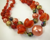 West Germany Plastic Double Strand Necklace Red Orange Beads New Old Stock