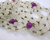 Two Flapper Length Necklaces White and Purple Beads