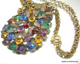 1930s Czech Art Deco Pendant with Multicolored Rhinestones