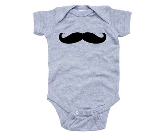 Adorable Baby Short Sleeve Mustache Bodysuit Cute For Announcing It's a Boy