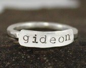 Name Plate Stacking Ring, Fine Silver Name Stacked Ring, Personalized Hand Stamped Ring, Custom Mom Ring, Kids Name Ring, TagYoureItJewelry