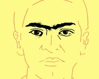 Frida Kahlo - Men's T-Shirt - Copper & Black on Yellow (Griot Apparel)