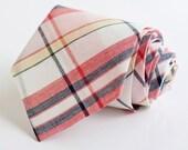 men's coral, blush, and navy organic madras plaid necktie