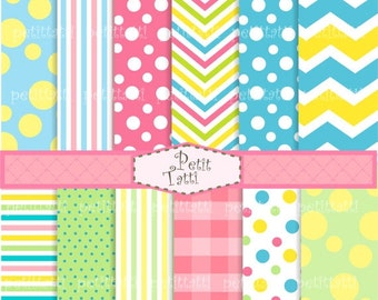 ON SALE instant download digital paper , set of 12 Sweet colour paper, Pink ,green blue, spots, chevron, stripe