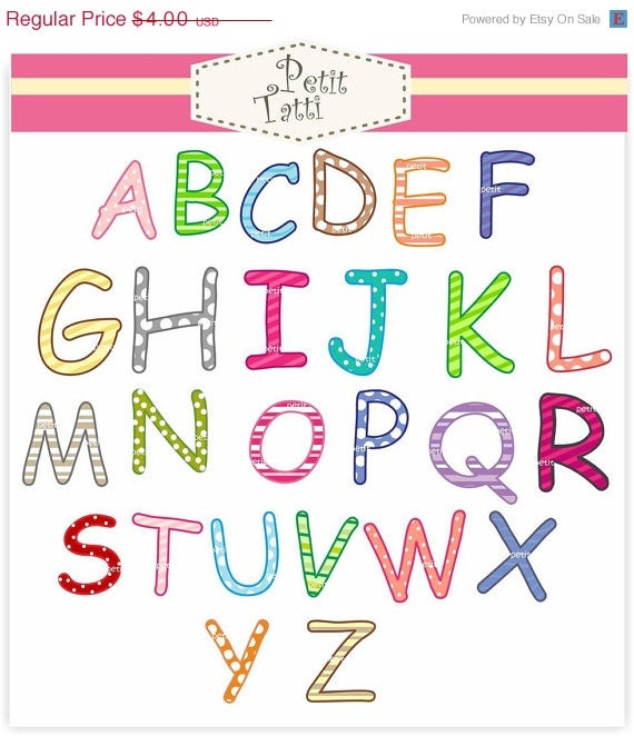 ON SALE capital letters Digital clipart - alphabet A-Z clip art, capital letters, Instant download