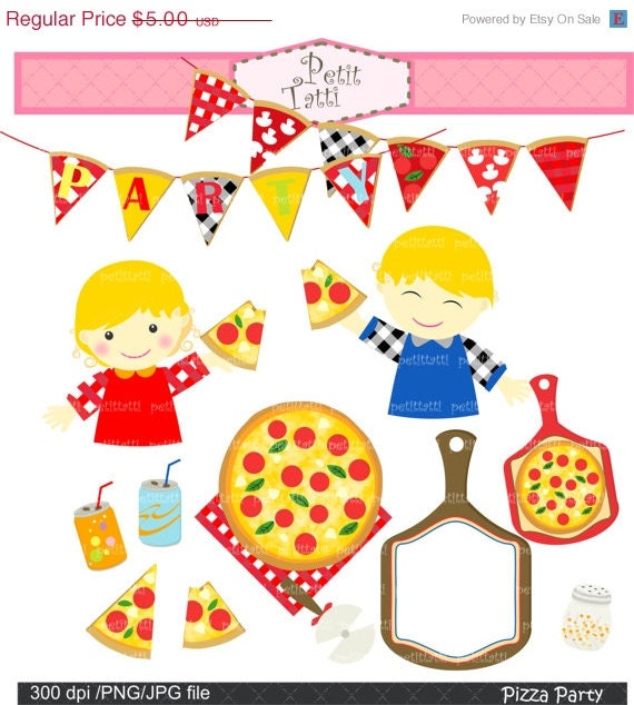 Clip Art Pizza Party Clipart pizza party clipart etsy on sale clip art boy and girl with digital 3 invitation instant download cl
