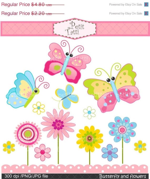 ON SALE Butterfly and flowers Digital clip art - pink, blue, green, INSTANT Download Digital clip art