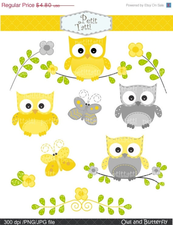 ON SALE owls clip art yellow and grey owls clip art clipart