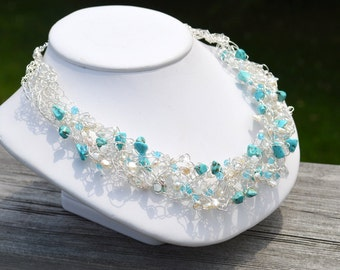 Turquoise, crystal and pearl wire crochet necklace, bridal necklace, bridal jewelry, wire crochet jewelry, pearl and turquoise necklace