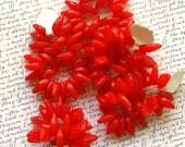 Red Leaf Glass Beads 60% off, qty 125