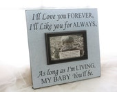 "Picture Frame I'll Love you Forever, I'll Like you for Always Wall Mounted-holds 4x6 photo Son Daughter Baby Child's gift 12""X12"""
