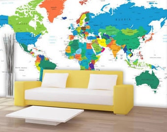 Dry Erase World Country Names Map Wall Decal