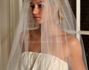 "Bridal Veil - Full 108"" Wide Elbow Length Veil with Raw Cut Edge - White, Diamond White, Light Ivory, Ivory, Champagne, Blush"