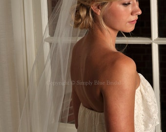 "Veil - Standard Elbow Length Veil with Raw Cut Edge, 72"" Wide Bridal Veil - READY TO SHIP - Ivory"