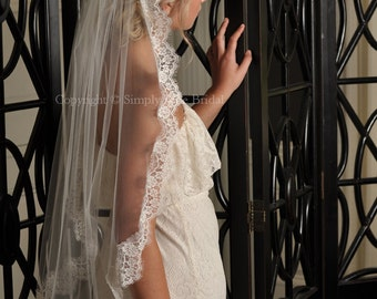 LIGHT IVORY Fingertip Lace Veil, Chantilly Lace Wedding Veil, French Lace, Ready to Ship