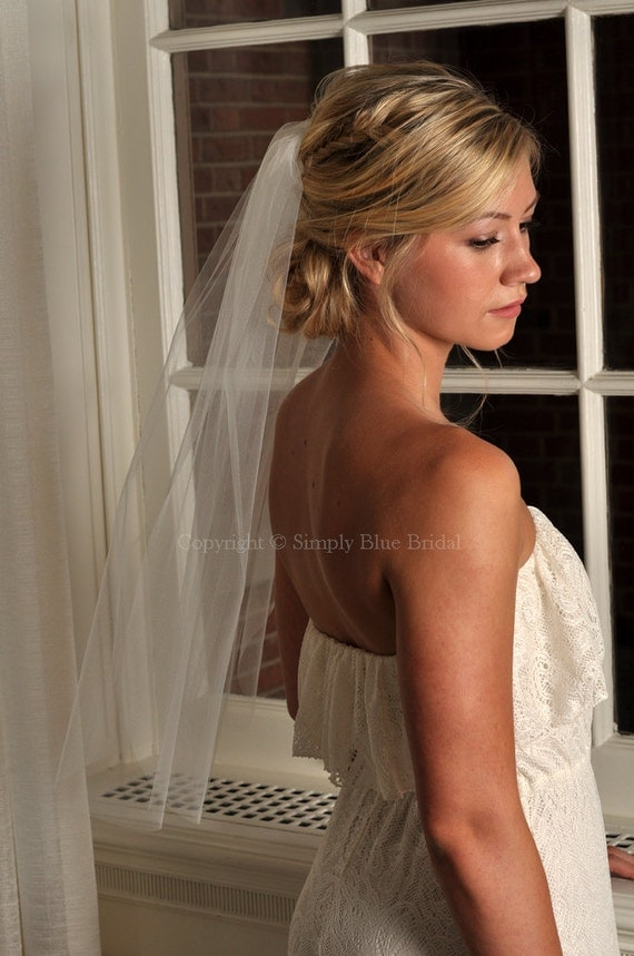 Wedding Veil Elbow Length with Raw Cut Edge - Ivory, White, Diamond White, Champagne, Blush