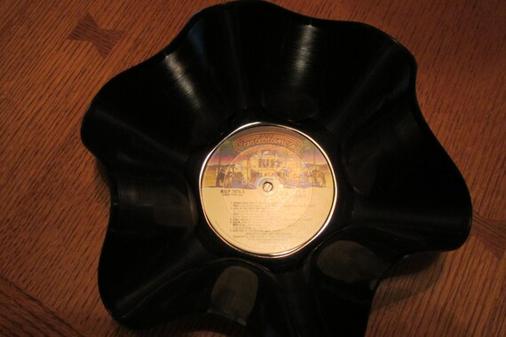 """Genuine Vintage 33rpm LP  Upcycled Record Bowl Featuring Kiss """"Alive"""" on Casablanca Records Classic Seventies Pressing"""