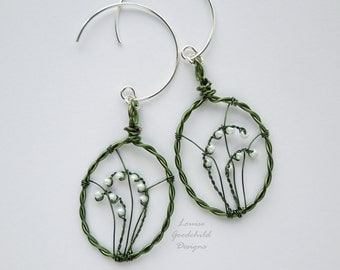 Lily of the Valley earrings, sterling silver earrings, lily earrings, sterling silver lily earrings