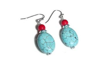 Turquoise Magnesite Earrings. Dangle Earrings. Southwestern Earrings