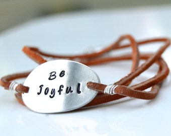 Personalized Be Joyful Hand Stamped Brown Leather Wrap Bracelet