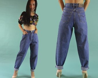 Vintage 80s Jeans / High Waist Jeans / 1980s YOYO Jeans High Waisted Jeans Taper Jeans / Dark Denim Mom Jeans Relaxed Hip Taper Leg Waist 27