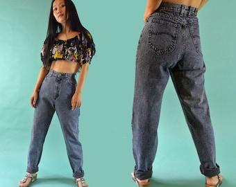 Vintage 80s High Waisted Jeans /  Dark Denim Acid Wash Jeans / 1980s Mom Jeans / Acid Wash LEE Jeans / Relaxed Fit Taper Leg Jeans 27 Waist