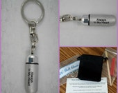 "Engraved ""Always In My Heart""   - Cremation Urn Swivel Keychain - Custom Hand Assembled.... with Velvet Pouch and Fill Kit"