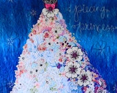 MarveLes PATTERN SHALOM Girl COLLAGE  Floral Formal Prom Wedding Dress Lavender Blue Pink White
