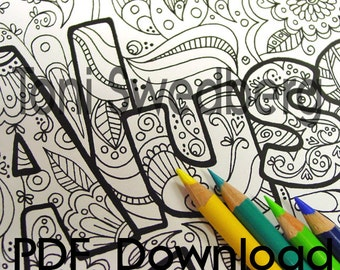 alyssa name art one coloring page colouring page pdf download