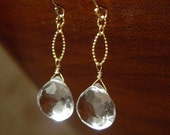 SPRING SALE 30% OFF Faceted Crystal Quartz and 14kt Gold Fill Textured Drop Earrings