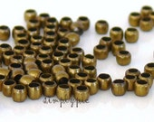 Antiqued Brass Crimp Metal Beads 2mm - 100