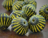 20% OFF African Yellow/Black Bicone Czech Glass Beads 11mm: 10 Pcs