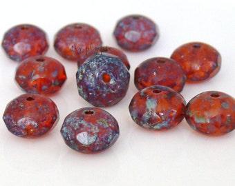 Orange Sienna Picasso Donut Czech Glass Beads 8x6mm 12 Pcs Gemstone-Cut