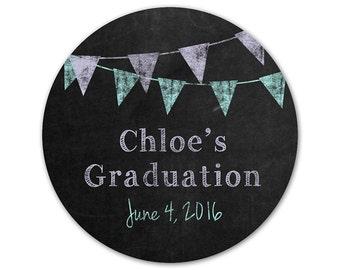 Personalized Graduation Stickers - Chalkboard Stickers - Custom Favor Labels - Banners - Pennants - Favor Stickers - Graduation Party Labels