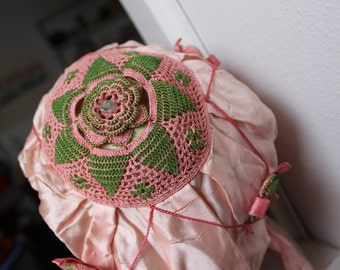 Night Cap Pink Beaded Crochet Lace Ribbon Bonnet Sleeping Fancy Antique VINTAGE by Plantdreaming