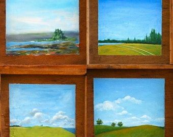 Maine Landscape Art, My Maine, print from original oil painting on wood, Maine Art