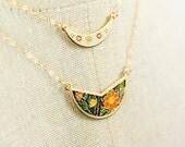 Vintage Bib Necklaces, Small Enamel Crescent Moon Necklaces, Enamel Cloisonne Jewelry, Orange Weddings Jewelry Cloissone, Moon Charm