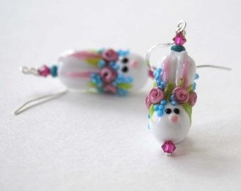 Easter Bunny Earrings, Spring Earrings, Lampwork Glass Earrings, Floral Earrings