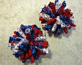 Fourth of July Corker Bows- Stars & Stripes- Baby Girl Bows- Toddler Bows- Girls Bows- Pigtail Bows- Patriotic Corker Bows