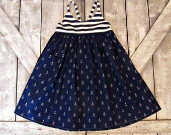 Girl Nautical Sundress- Navy & White Summer Dress- Baby Girl Dress- Toddler Dress- Newborn 3 6 9 12 18 Months 2 3 4 5 6 7 8 9 10 11 12 Years