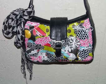 Leather Purse, Relic Brand, Upcycled with Decoupage in Black and Pink, Mod, Retro Style, Roomy Hand Bag with 3 Inside Sections