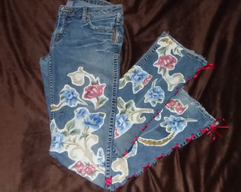 Bohemian Jeans, Silver Jeans, Upcycled Ladies Clothing, Distressed, Boho, Hippie Jeans, Festival, Gypsy, Recycled Blue Jeans, Size 29/33,