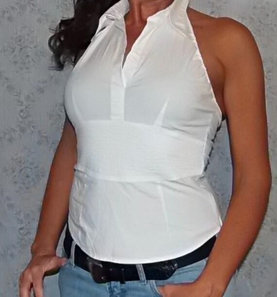 wei e kragen damen bluse mit kummerbund und zur ck krawatte. Black Bedroom Furniture Sets. Home Design Ideas