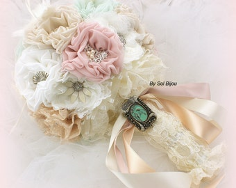 Brooch Bouquet, Mint, Ivory, Champagne, Blush, Green, Elegant Wedding, Vintage-Style, Jeweled, Locket, Feathers, Lace, Pearls, Crystals